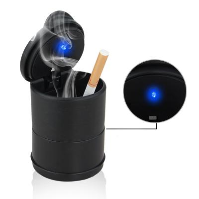 lma洛瑪 車載煙灰缸汽車用品帶LED燈創意多功能夜燈耐高溫帶蓋通用煙缸