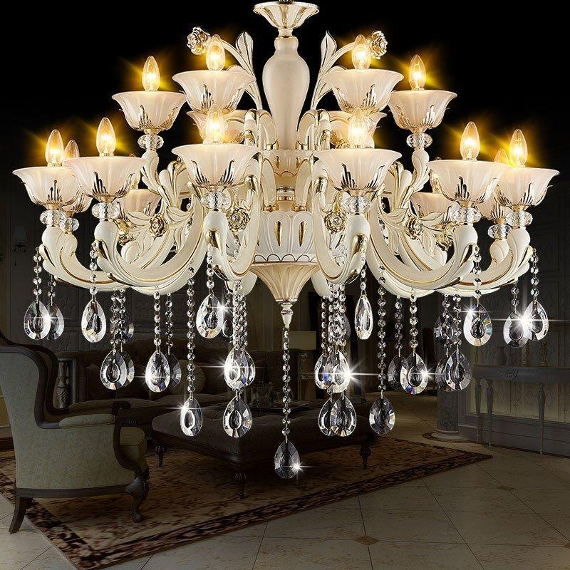 欧式吊灯 客厅led水晶吊灯玉石餐厅卧室蜡烛灯别墅