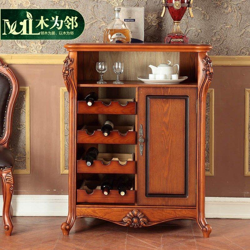 美式乡村家具实木餐边柜 美式备餐柜 欧式酒柜 法式高档雕刻 全实木框