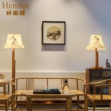 新中式复古台灯客厅卧室餐厅装饰落地灯具床头墙壁灯具大气铁艺创意布图片