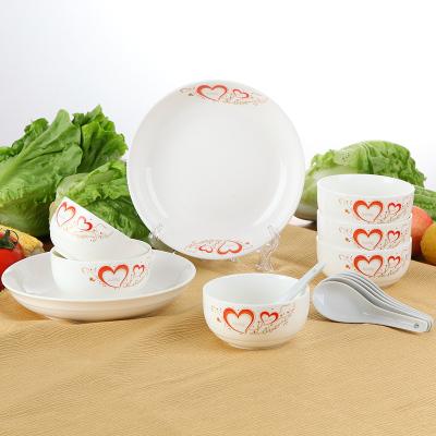 6个米饭碗+6根勺子+2个8英寸菜盘子碟子餐具套装油上彩日式青花瓷陶瓷器喝汤碗家用韩式