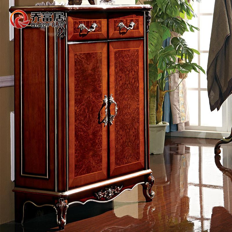 乔富居家具鞋柜欧式实木鞋柜收纳柜玫瑰红色法式三门