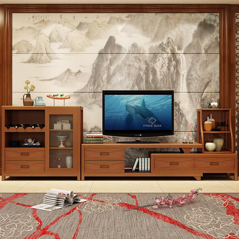 明佳友 现代简约实木电视柜 橡胶木组合柜客厅影视墙电视柜带储物空
