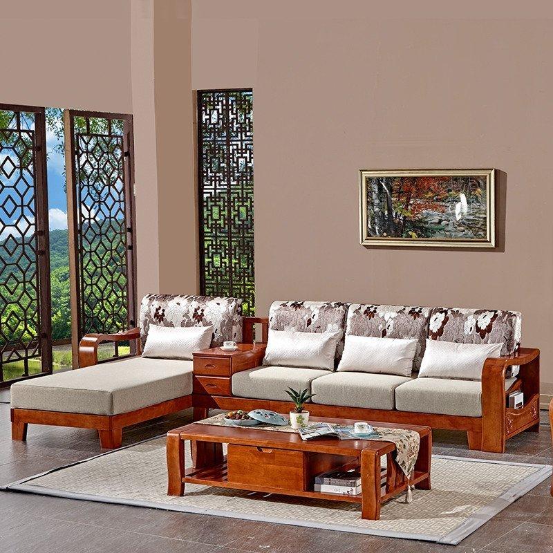 西阁汇 全实木沙发 橡木现代新中式客厅家具贵妃转角木架布艺组合图片