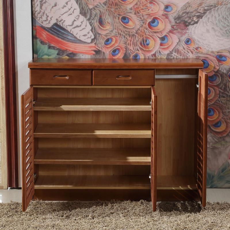 实木鞋柜 现代简约中式双门三门鞋柜 百叶门橡木鞋柜