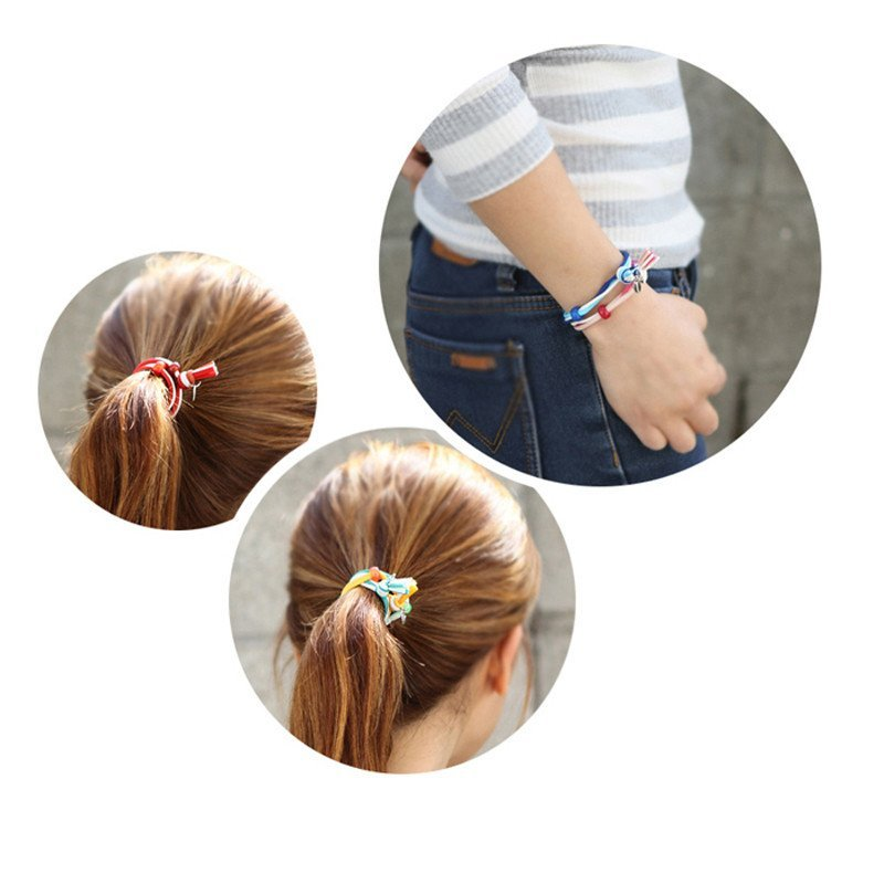 美丽公主韩版扎头发饰品打结发圈绑头绳橡皮筋手链式发绳 串珠头饰7色