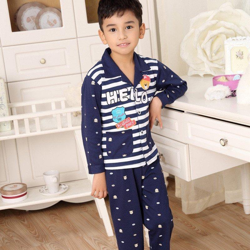 男童睡衣日韩时尚简约休闲可爱卡通条纹长袖翻领儿童家居服睡衣套装