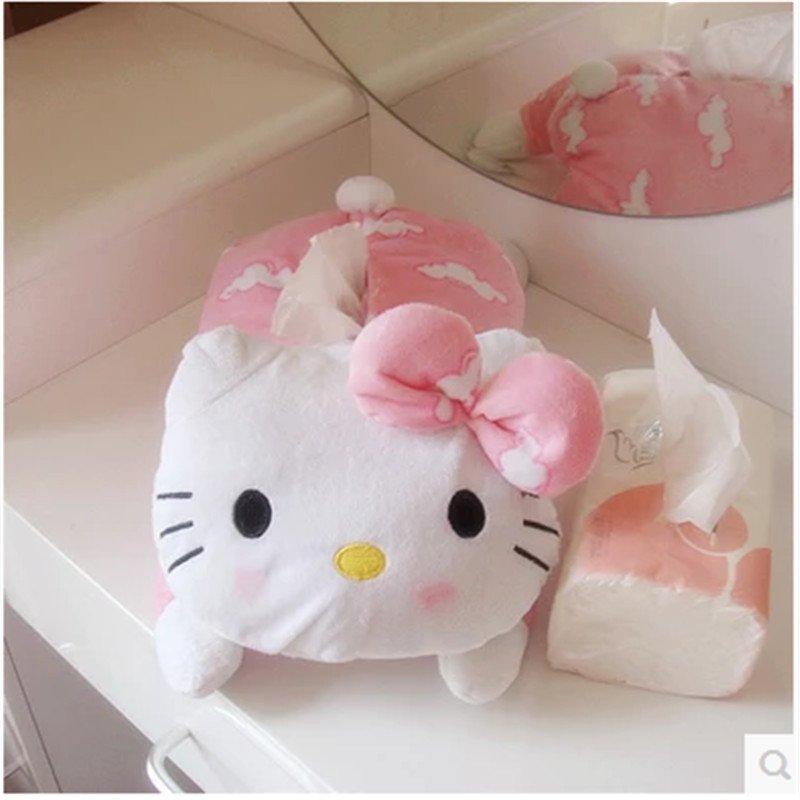 萌萌哒~可爱毛绒kitty公仔纸巾盒 卡通kt纸巾抽 儿童房纸巾盒套