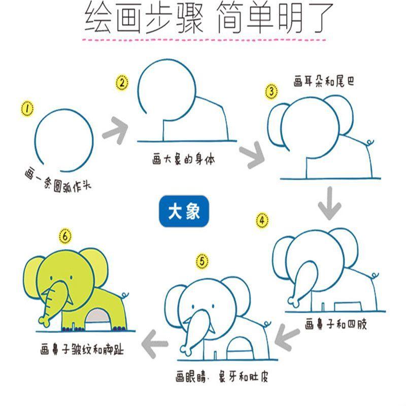 步学画画全套4册2-6岁幼儿学画画 宝宝美术启蒙学画书 各种各样的动物