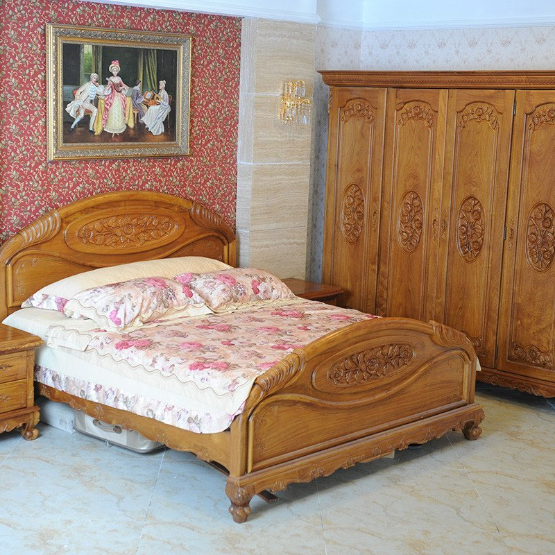 柚皇 玫瑰床组 a1 金柚木卧室家具套装 欧式家具 卧室