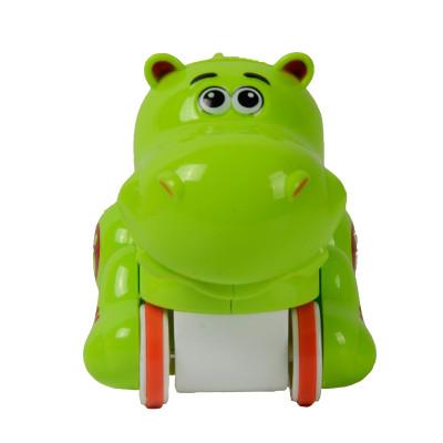 立健q版卡通动物造型迷你小摩托车惯性车儿童回力益智汽车玩具 大河马