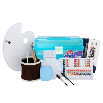 雅黛管装水粉颜料初学者写生套装12ml管装水粉美术工具箱画笔调色板