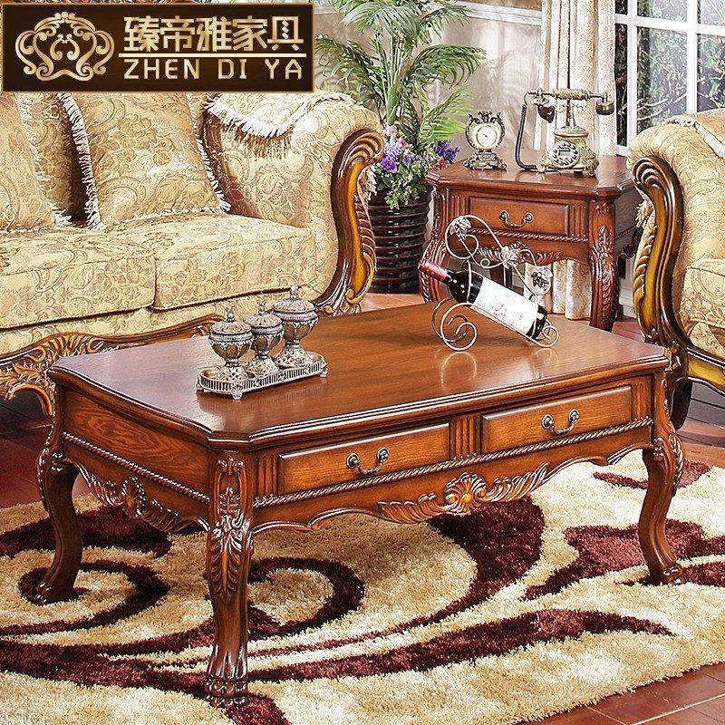 美式乡村实木雕刻带抽长茶几 欧式简约复古咖啡桌 法式客厅茶艺台