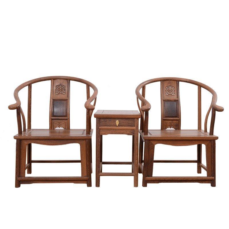 红木仿古家具 中式古典 鸡翅木圈椅三件套 配带抽屉茶几 实木扶手椅