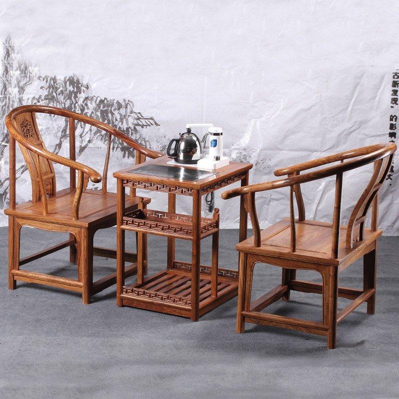 红木家具 非洲花梨木圈椅 中式古典靠背椅 实木电磁炉茶几 组合三件套