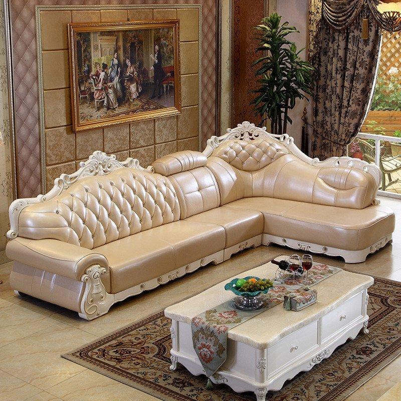 新尚人(xsr)欧式真皮沙发 简欧沙发组合 客厅贵妃转角
