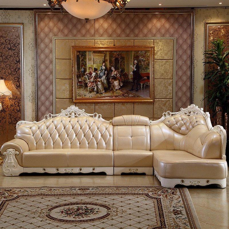 新尚人(xsr)欧式真皮沙发 简欧沙发组合 客厅贵妃转角图片