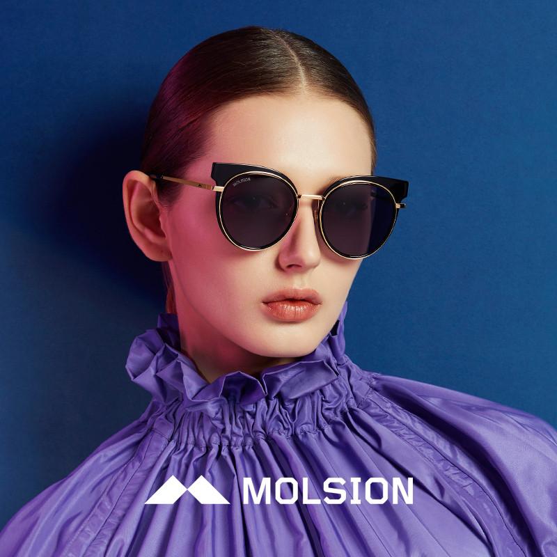 molsion陌森眼镜2018年春夏新款太阳镜圆长脸墨镜偏光图片
