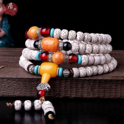 居典 天然原色星月菩提手串男女通用108颗手链时尚菩提子吊坠高密顺白干磨菩提项链 木饰