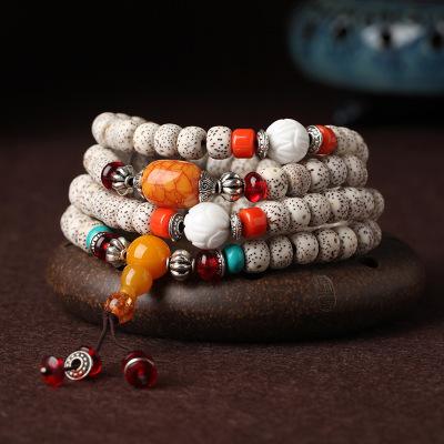 居典JU DIAN 天然原色原創星月菩提手串108顆正月高密星月菩提手鏈 天然配飾項鏈男女通用款佛珠手串項鏈 木飾