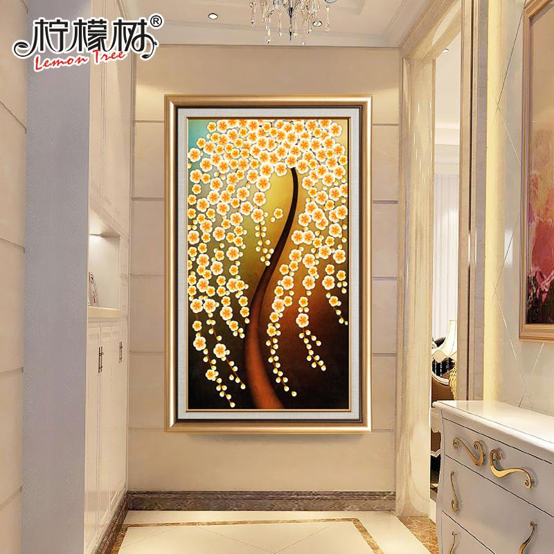 欧式美式客厅装饰画玄关过道竖版挂画走廊装饰壁画墙画发财树