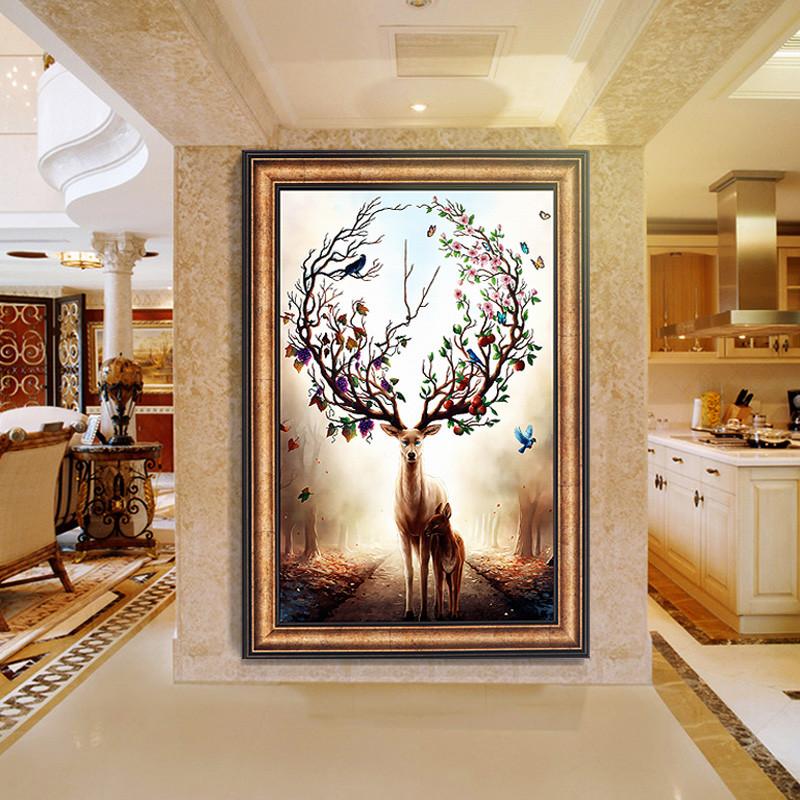 玄关装饰画欧式美式竖版过道简欧挂画现代简约客厅沙发背景墙壁画
