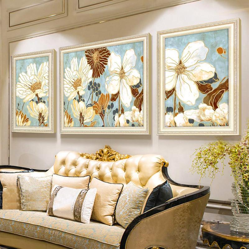 美式客厅装饰画吉象到家三联沙发背景墙画欧式油画挂画玄关餐厅壁画