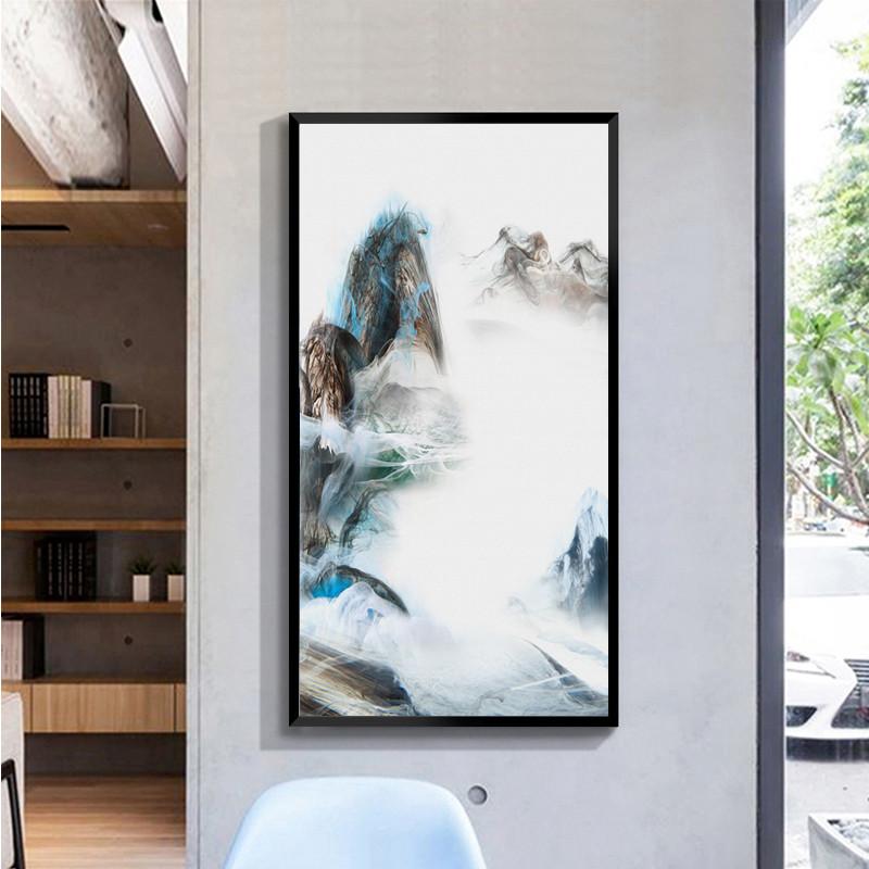 新中式客厅水墨挂画玄关走廊过道装饰画现代简约山水禅意竖版壁画图片