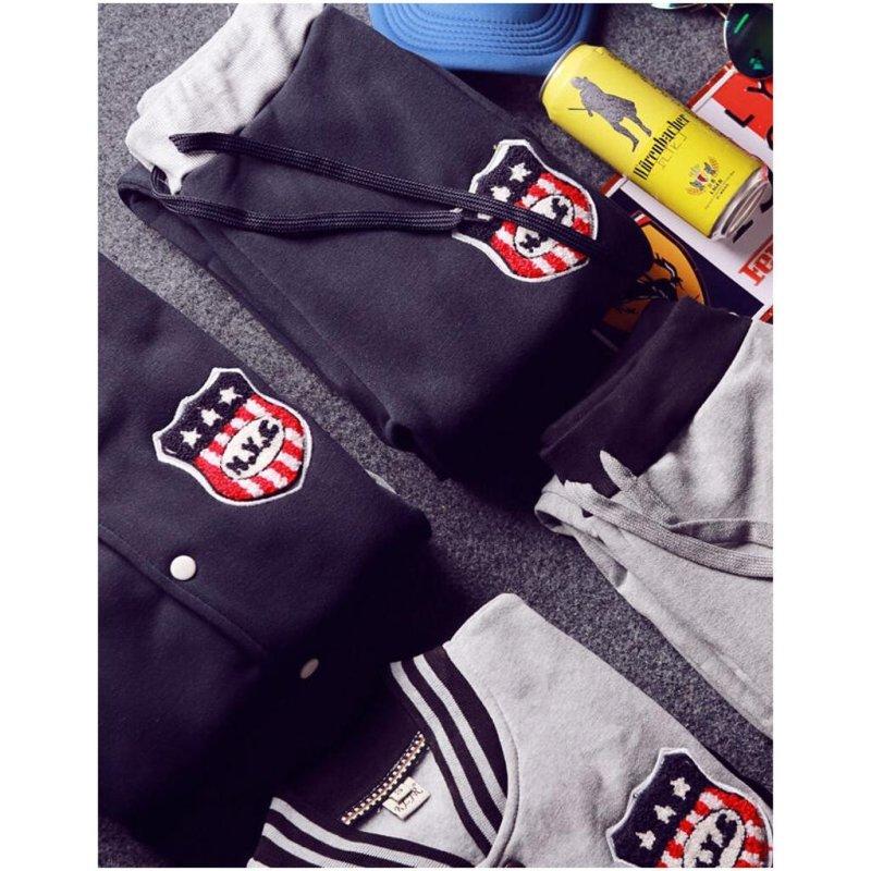 修身棒球衫韩国情侣卫衣套装拼接贴标撞色开衫外套潮男生运动两件套装