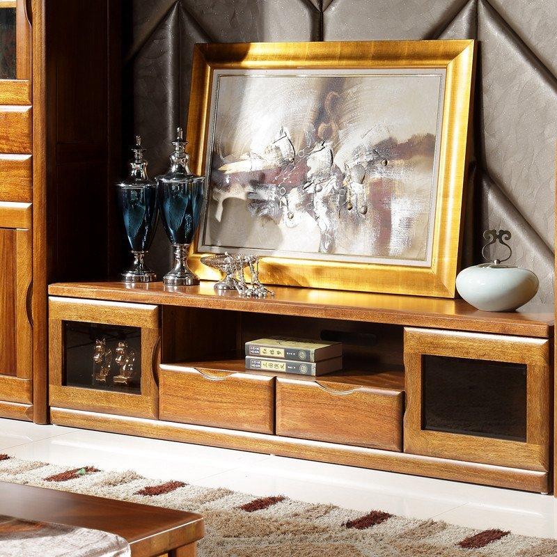 爱扬 电视柜实木地柜胡桃木家具