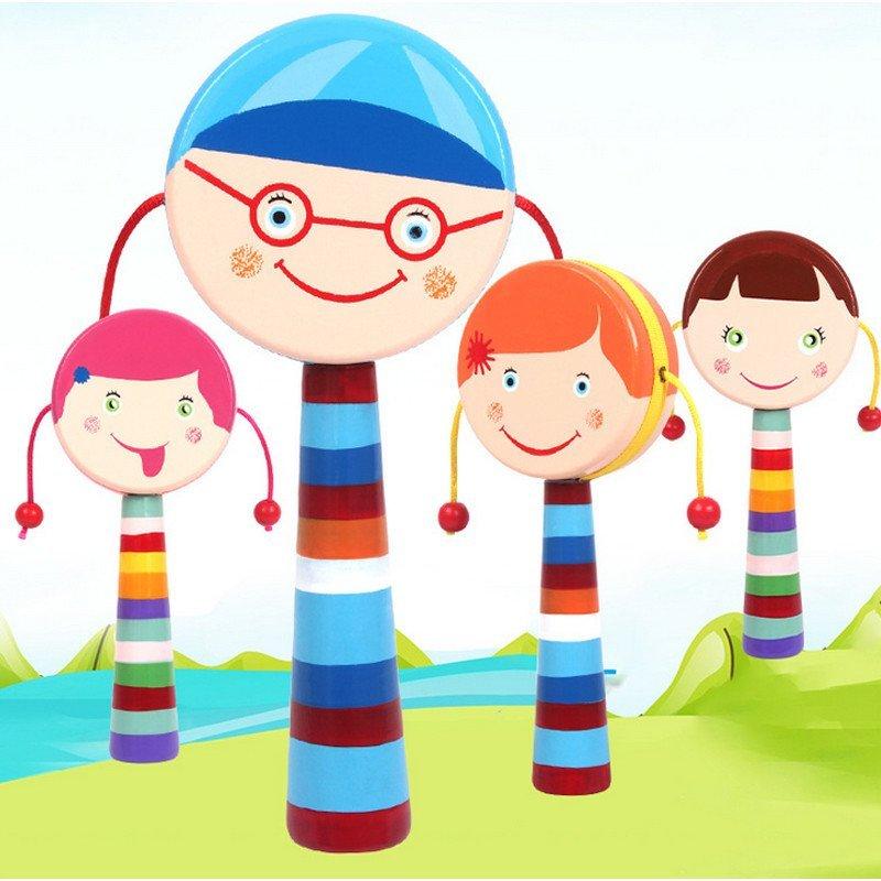 可爱卡通笑脸木制双面拨浪鼓 婴幼儿宝宝发声玩具蓝色