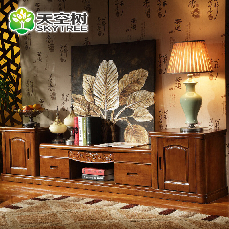 实木电视柜 现代中式实木电视柜 客厅套装组合家具