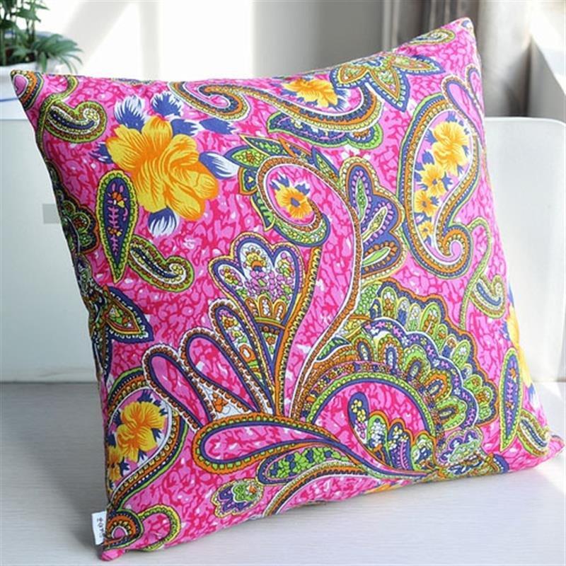 创意时尚方形抱枕套--彩色花纹 不含枕芯