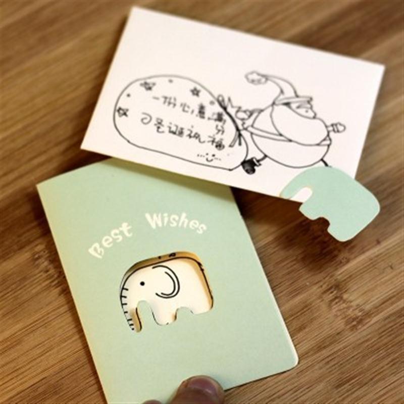 惠客 糖果色创意缕空小贺卡 卡通动物明信片