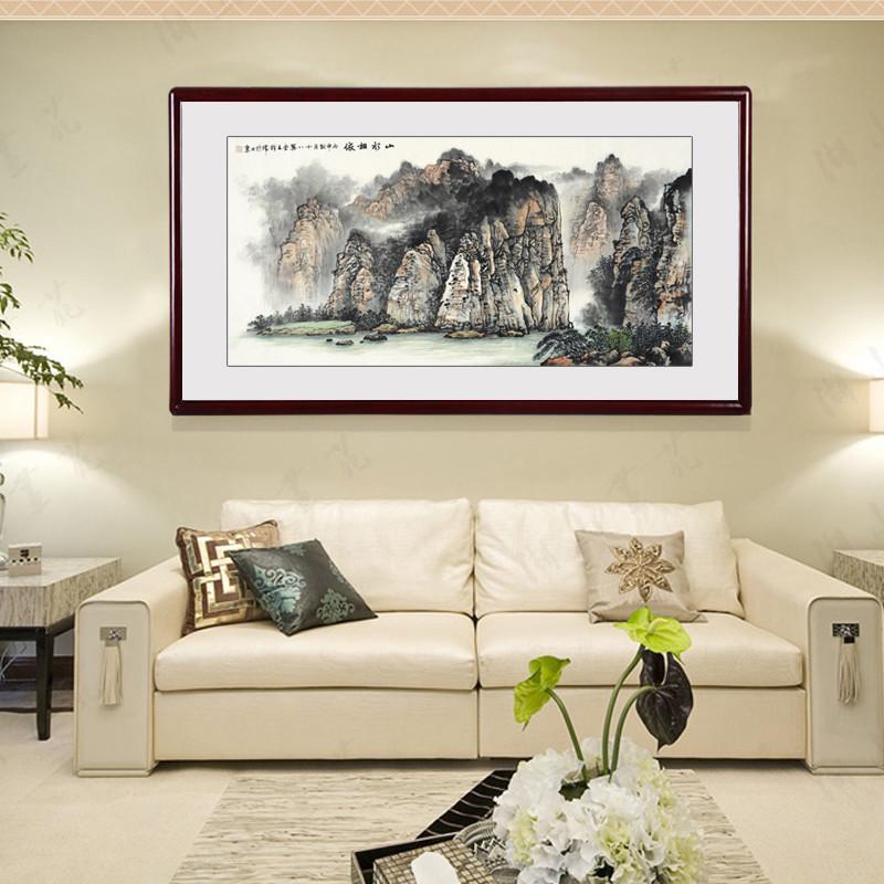 王梓晖现代新中式客厅国画山水装饰画办公室书房挂画餐厅大墙面壁画