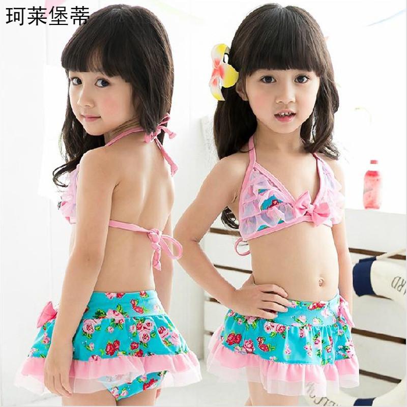 珂莱堡蒂儿童游泳衣可爱宝宝蕾丝比基尼分体泳装女童泳衣bqy-721