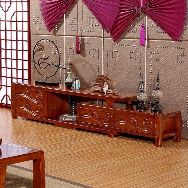 创未 水曲柳实木电视柜伸缩 新中式客厅电视机柜地柜组合家具