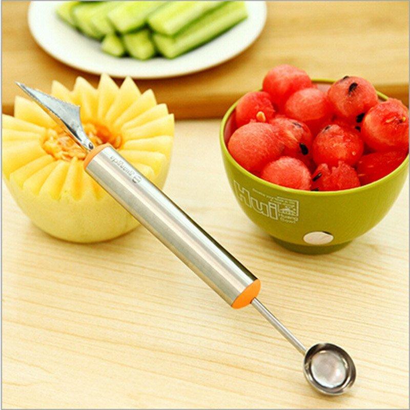 不锈钢 水果挖球器 多功能西瓜挖球勺雕花刀 水果刀
