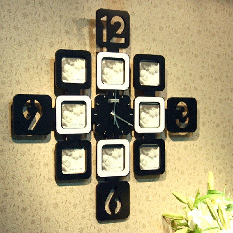 创意九宫格相框挂钟装饰挂钟创意挂钟 黑白