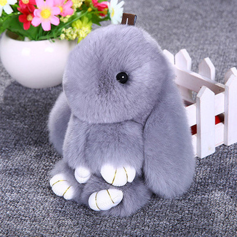 獭兔毛皮草钥匙扣18cm 可爱装死兔萌萌兔汽车包包配饰
