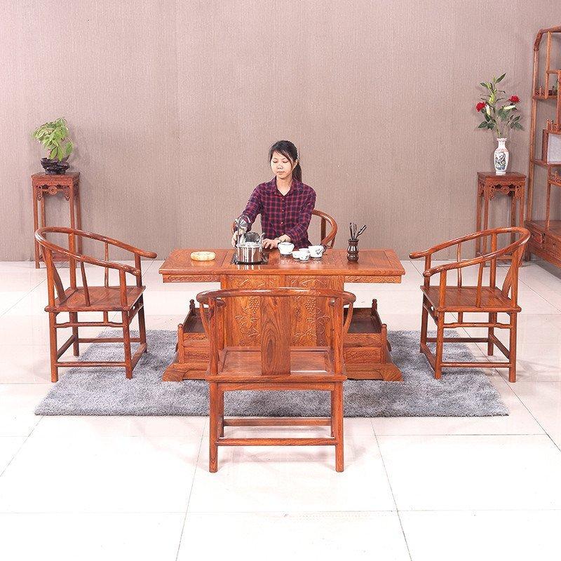 粤顺 红木家具功夫茶桌 多功能实木茶几 中式花梨木小罗马茶台332