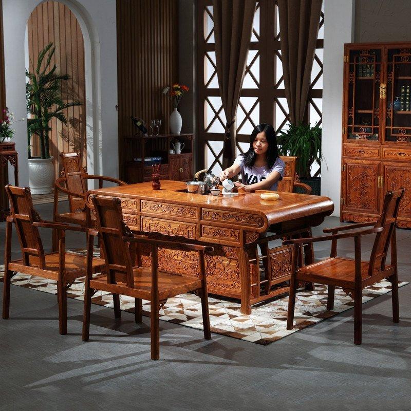 粤顺 茶桌椅组合 红木中式家具花梨木茶桌 实木功夫茶几富贵347