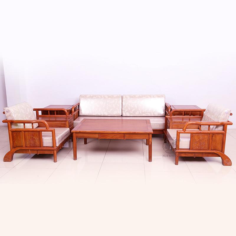 粤顺红木沙发 实木沙发组合 花梨木客厅新中式沙发套装 软垫沙发六