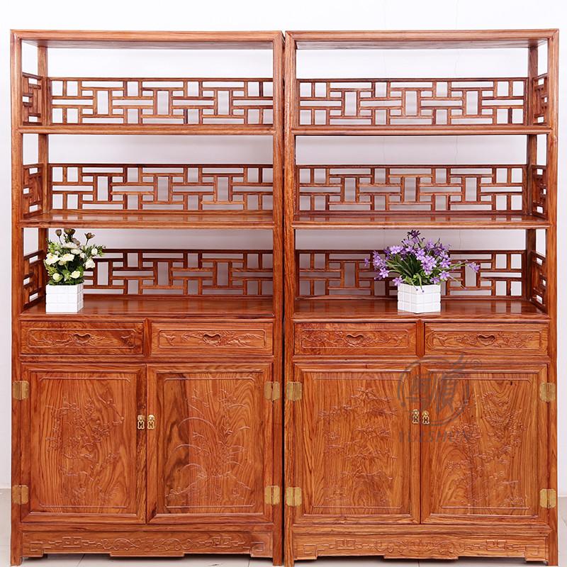 粤顺红木书架 实木书柜 花梨木展示柜 新中式家具店铺
