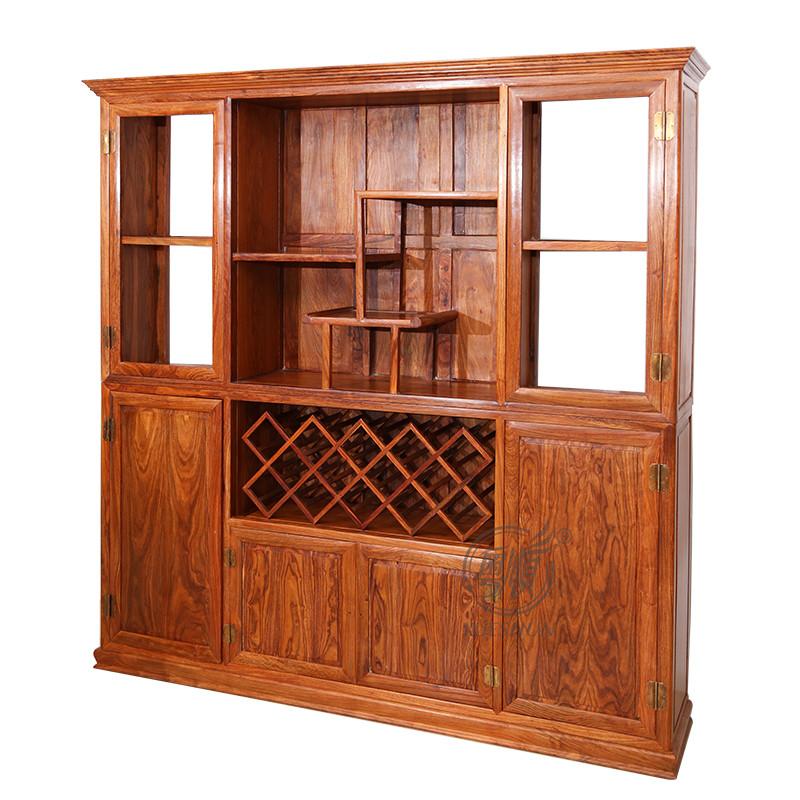 粤顺红木酒柜 花梨木红酒柜 实木间厅柜酒架 新中式客厅酒柜博古柜