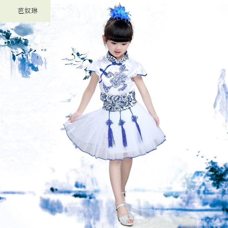 芭奴琳六一儿童表演服舞蹈服装青花瓷公主裙蓬蓬裙古筝演出服合唱服