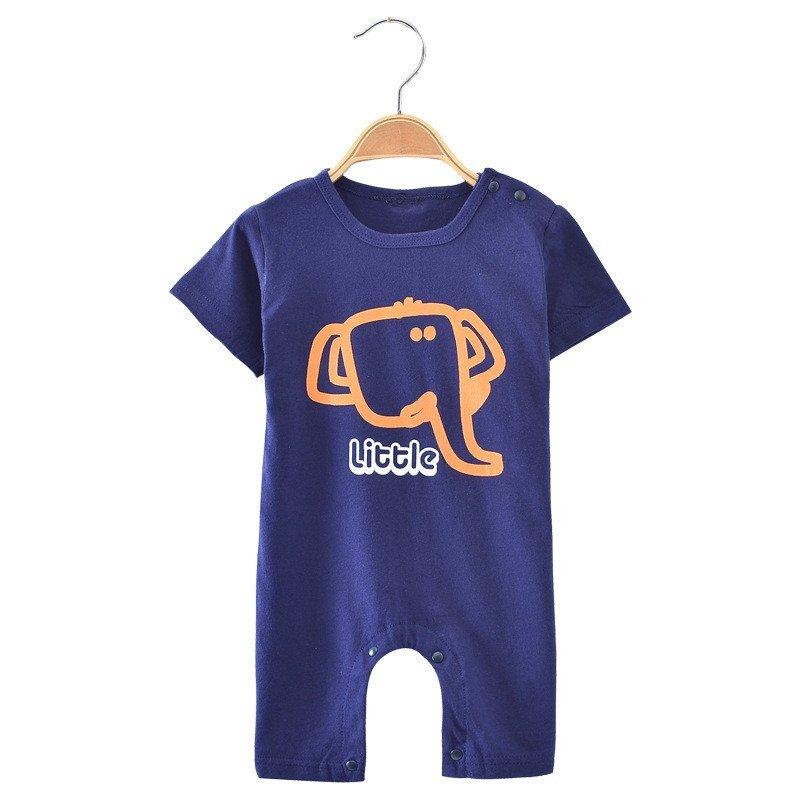 优贝艾儿宝宝夏季纯棉小象婴儿连体衣哈衣爬服 宝宝夏装婴儿服