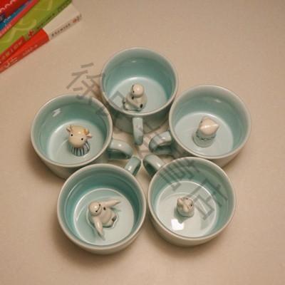 可爱早餐杯 牛奶杯 创意水杯早安兔马克杯咖啡杯大容量陶瓷杯 小熊猫