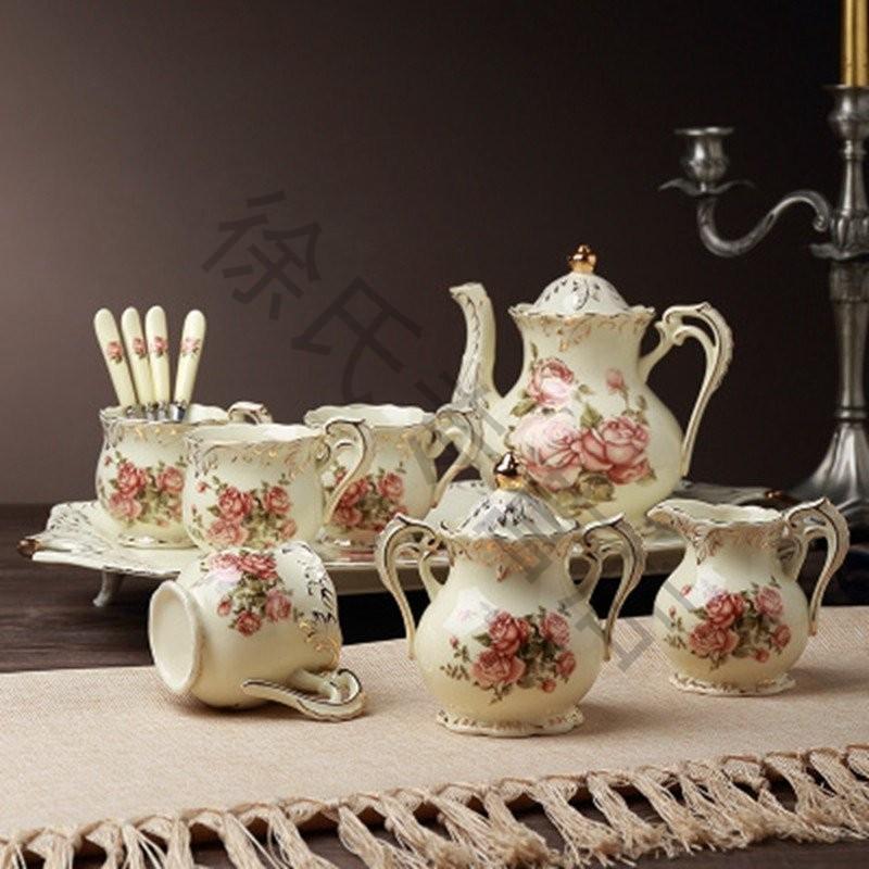 大润窑 咖啡杯套装欧式陶瓷茶壶茶杯整套装带托盘英式