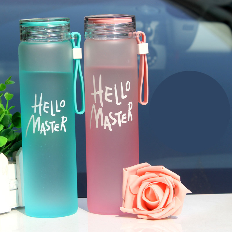 玻璃杯 可爱便携创意渐变色水杯子学生女士随手水瓶